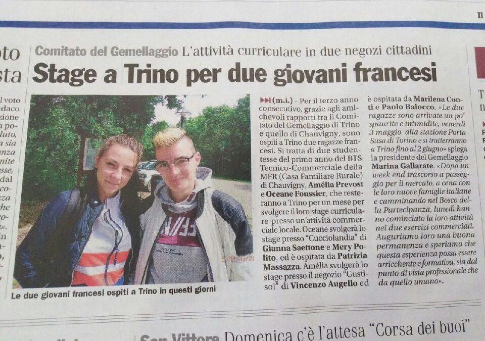DANS LA PRESSE ITALIENNE – due ragazze francesi a Trino